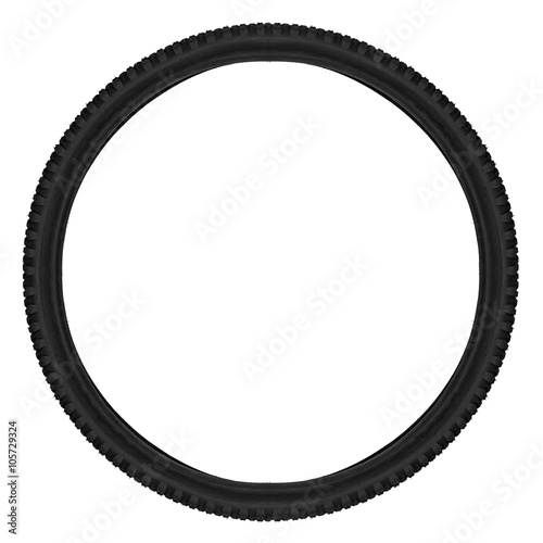 Valokuva  mountainbike bicycle tyre isolated on white background