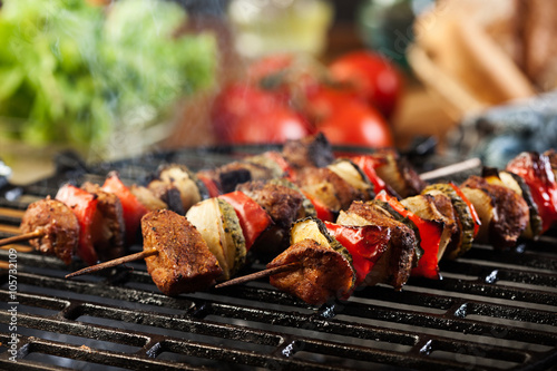 Aluminium Prints Grill / Barbecue Grilling shashlik on barbecue grill