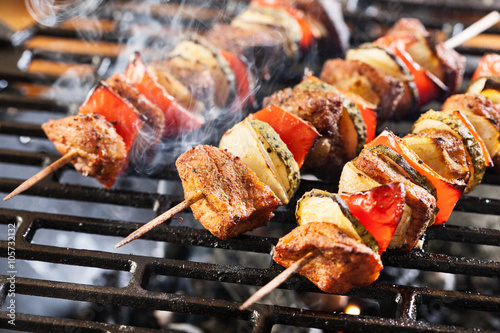 Deurstickers Grill / Barbecue Grilling shashlik on barbecue grill