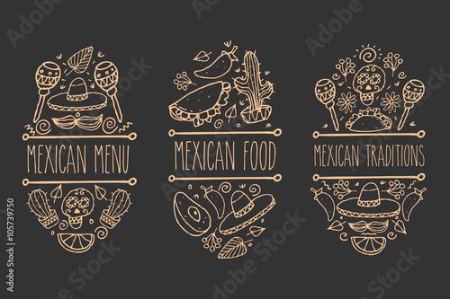 Fotografía  Mexican sketch doodle collection, vector hand drawn label elements