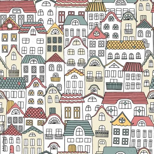 recznie-rysowane-wzor-miasta-z-uroczych-domow