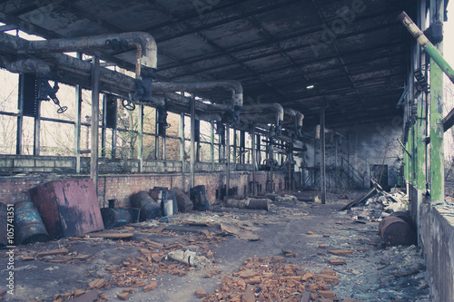 Canvas Prints Light pink old abandoned warehouse , empty messy factory