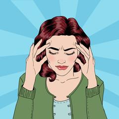Woman has a Headache. Woman Stress. Stress at Home. Stress at Work. Pop Art Banner