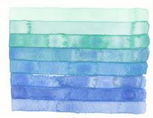 Watercolor Green Blue Stripe