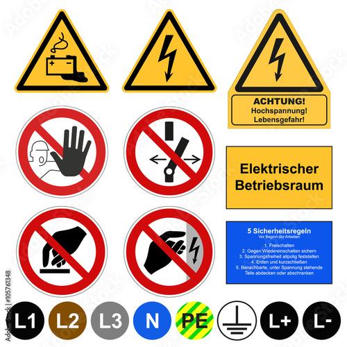 Fotografía  Elektrische Sicherheitszeichen, DIN VDE signs