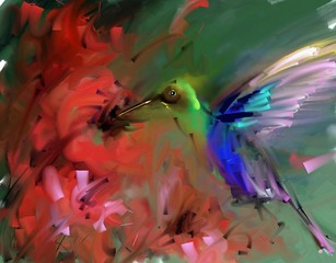 Fototapeta Painting. Hummingbirds drink nectar