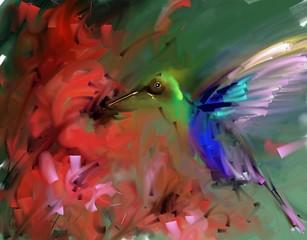 Fototapeta Ptaki Painting. Hummingbirds drink nectar