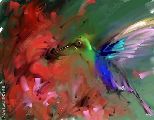 Painting. Hummingbirds drink nectar - 105766765