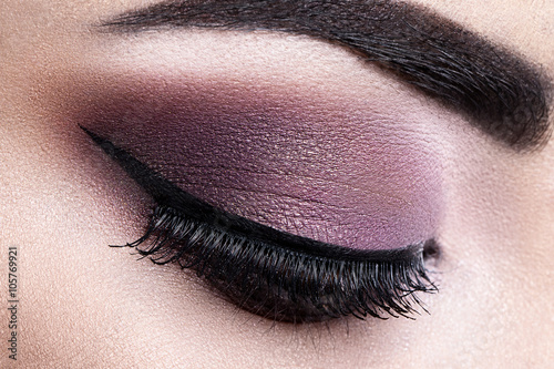 Fashion woman eye makeup. Close-up macro Plakat