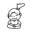 Hand drawing cartoon happy girl mediation