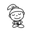 Hand drawing cartoon happy people mediation