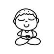 Hand drawing cartoon happy boy mediation