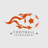 Football  Soccer tournament logo ball on fire