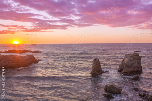 Foto op Canvas Candy roze California Coastal Sunset