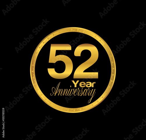 Poster  52 anniversary with black golden ring