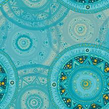 Pattern From Turquoise Hand-drawn Mandalas