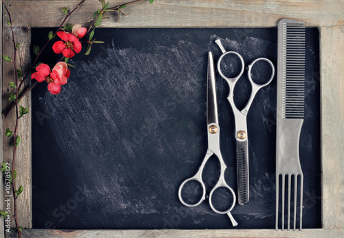Photo  Hair Cutting and Thinning Scissors on vintage background