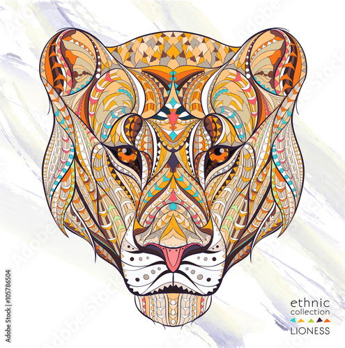Patterned head of the lioness on the grunge background Poster