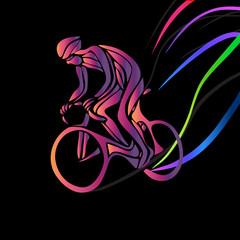 Fototapeta Sport Cyclist in a bike race. Color vector clipart