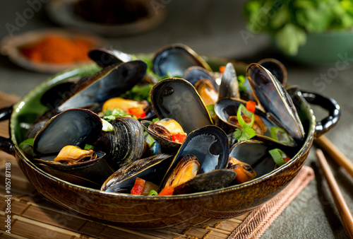 Poster Coquillage Mussels Asian Style
