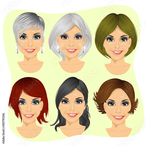 In de dag Kinderkamer isolated set of young woman avatar with different hairstyles