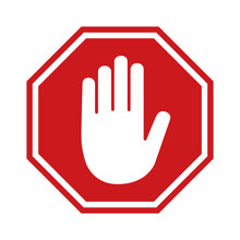 Adblock Or Red Stop Sign Icon With Hand / Palm Flat Icon For Apps And Websites