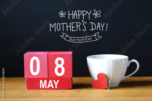 Poster Countryside Happy Mothers Day 8 May message with coffee cup