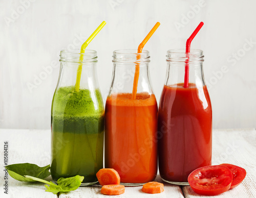 Fruits and vegetable juice in bottle.
