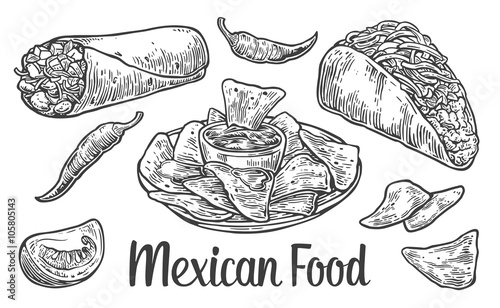 Fotografía  Mexican traditional food set with text message, burrito, tacos, chili, tomato, nachos