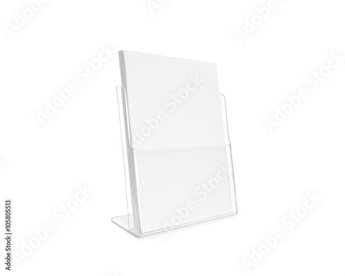 Blank Flyer Mockup Gl Plastic Transpa Holder Isolated Plain Flier Stand Clear Brochure Holding