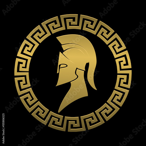 Golden Symbol Spartan Warrior On A Black Background Buy This Stock