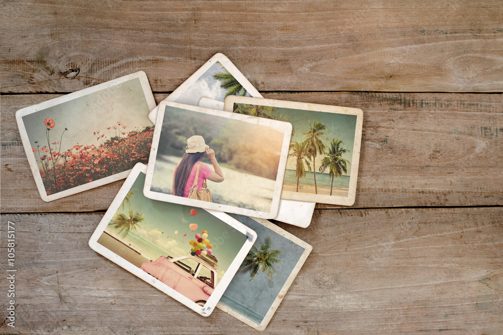 Fototapety, obrazy: Summer photo album on wood table. instant photo of polaroid camera - vintage and retro style