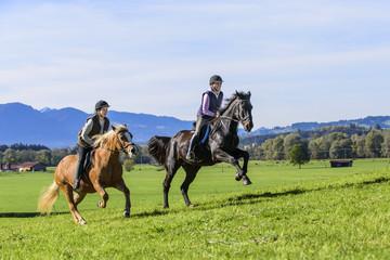 dynamischer Ausritt auf sportlichen Pferden