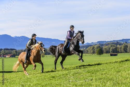 dynamischer Ausritt auf sportlichen Pferden Canvas Print