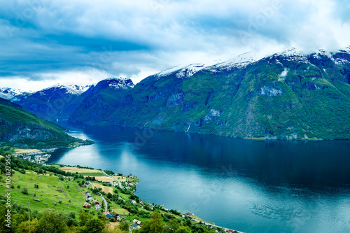 Foto op Plexiglas Noord Europa Beautiful Nature Norway Stegastein Lookout.