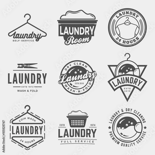 Fotografie, Obraz  vector set of laundry logos, emblems and design elements