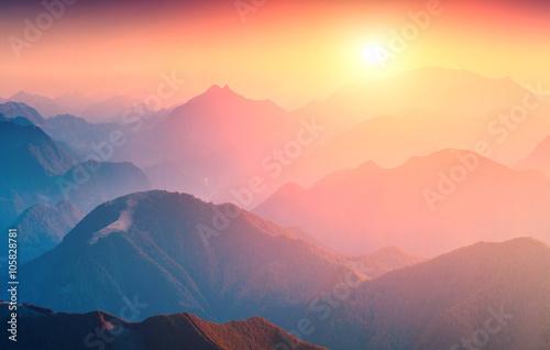 Foto auf Gartenposter Gebirge Great sunrise in mountains