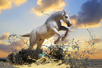 Obraz na płótnie Canvas white horse jumps out of the water on sunset background 3D render