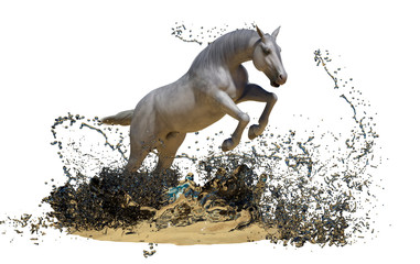 Obraz na płótnie Canvas white horse jumps out of the water on white background 3D render