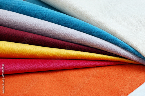 Aluminium Prints Fabric Bright collection of colorful velour textile samples. Fabric texture background