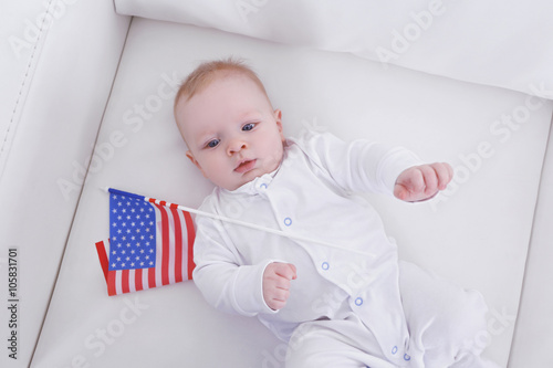 Cool Cute Baby Boy On White Couch With American Flag View From Dailytribune Chair Design For Home Dailytribuneorg