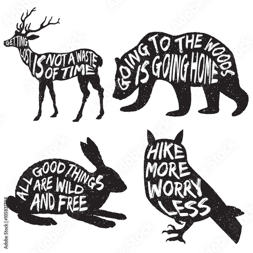 set of wilderness inspirational typography posters and quotes
