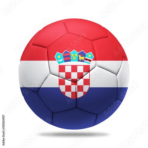 Photo  3D soccer ball with Croatia team flag, UEFA euro 2016