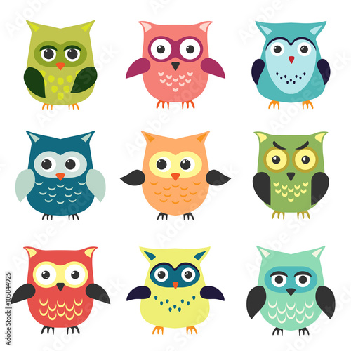 Poster Oiseaux, Abeilles The set of owls in cartoon style