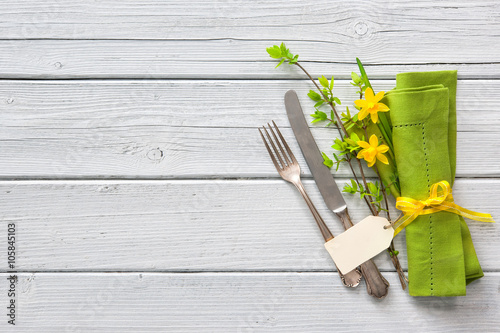 Fotografie, Obraz  Spring table place setting with daffodils