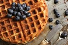Waffle Breakfast With Blueberr...