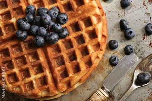 Fotografía Waffle Breakfast with blueberries