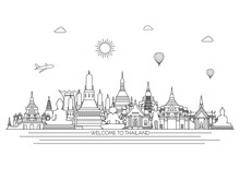 Thailand Detailed Skyline. Travel And Tourism Background. Vector Background. Line Illustration. Line Art Style