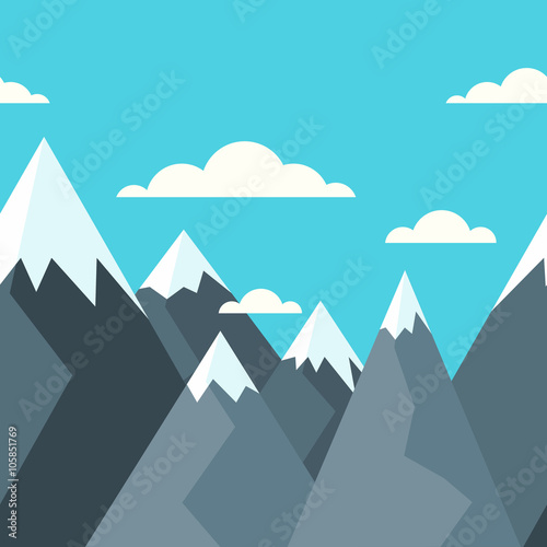 Fotobehang Turkoois Mountains landscape, vector seamless horizontal background. Blue sky with clouds. Flat style illustration of nature.