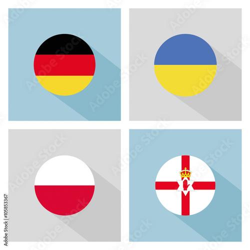 Photo  soccer group C teams flags in flat design. UEFA euro 2016.